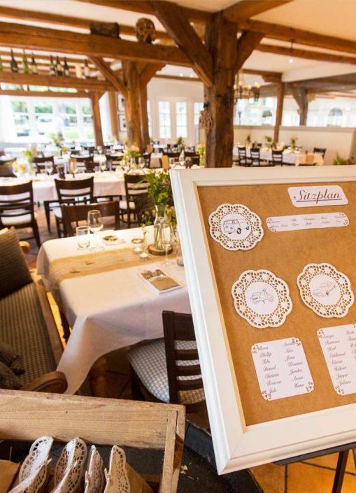 Tischplan für die Sitzordnung bei einer Hochzeit